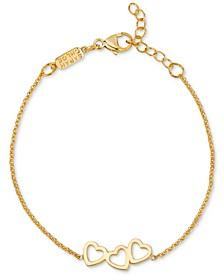 Triple Heart Adjustable Link Bracelet in 14k Gold-Plated Sterling Silver