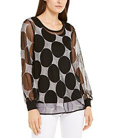 Embroidered Mesh Blouse, Created For Macy's