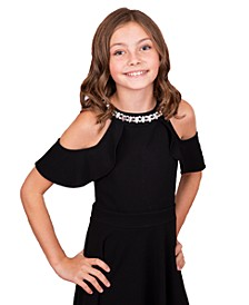 Big Girls Cold Shoulder Ruffle Rhinestone Skater Dress