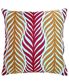 """Spice Collection Coral Leaves Crewel Embroidery Pillow, 20"""" X 20"""""""