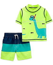 Baby Boys 2-Pc. Dinosaur Rash Guard Set