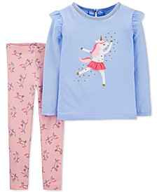 Toddler Girls 2-Pc. Long-Sleeve Dancing Unicorn Top & Leggings Set
