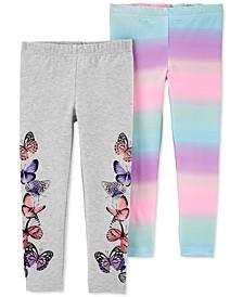Toddler Girls 2-Pk. Rainbow Butterfly Leggings