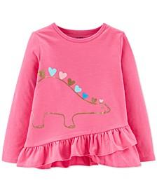 Toddler Girls Dinosaur Hearts Long-Sleeve Top