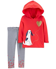 Toddler Girls 2-Pc. Dog Hoodie & Striped Leggings Set