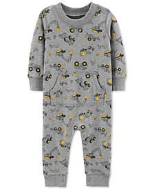 Baby Boys Cotton Construction-Print Coverall