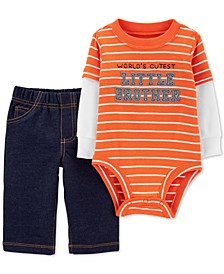 Baby Boys 2-Pc. Cotton Layered-Look Bodysuit & French Terry Pants Set
