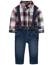 Baby Boys 3-Pc. Plaid Bodysuit, Jeans & Suspenders Set