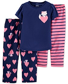 Toddler Girls 3-Pc. Fox Pajamas Set