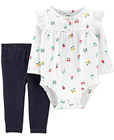 Baby Girls 2-Pc. Floral-Print Bodysuit & Denim Pants Set