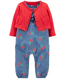 Baby Girls 2-Pc. Cotton Cardigan & Chambray Jumpsuit Set