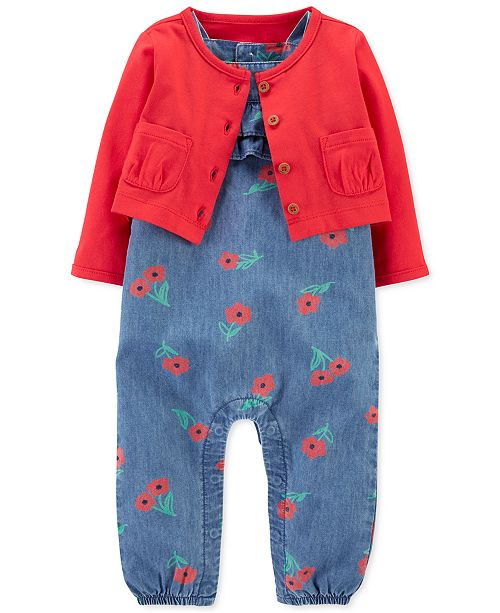 Carter's Baby Girls 2-Pc. Cotton Cardigan & Chambray Jumpsuit Set