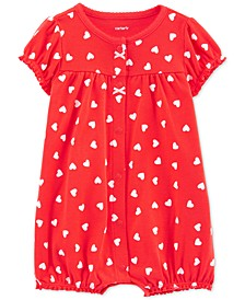 Baby Girls Cotton Heart-Print Romper