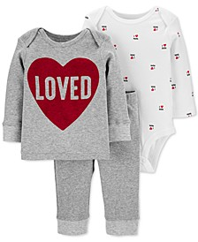 Baby Boys & Girls 3-Pc. Cotton Love T-Shirt, Bodysuit & Pants Set