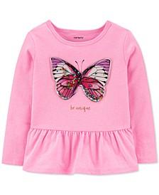 Toddler Girls Butterfly Peplum Top