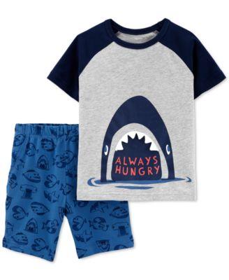 Toddler Boys Pajama Set BLUE BLACK CAMO SHORTS Tee Shirt SHARKS Carter/'s 18 MO
