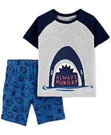 Toddler Boys 2-Pc. Cotton Shark T-Shirt & Shorts Set