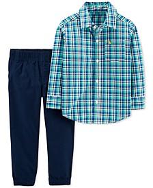 Toddler Boys 2-Pc. Cotton Plaid Button-Front Shirt & Poplin Pants Set