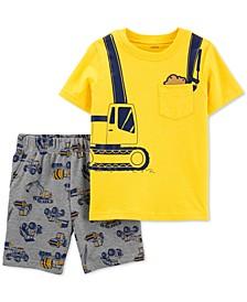 Toddler Boys 2-Pc. Construction T-Shirt & Printed Shorts Set