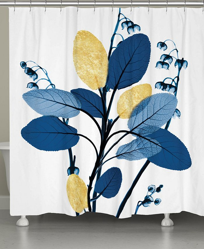 Laural Home - Blue and Gilded Leaves Shower Curtain