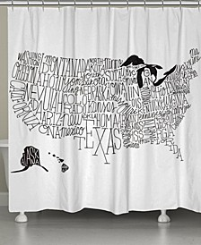 Hand Lettered US Map Shower Curtain