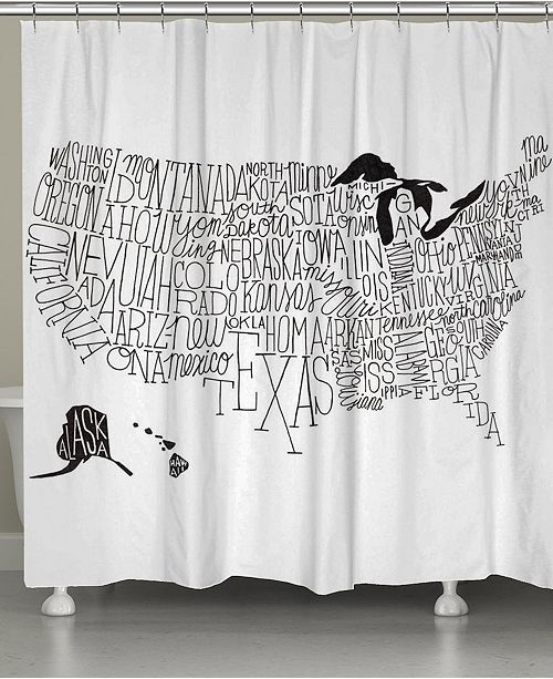 Laural Home Hand Lettered US Map Shower Curtain