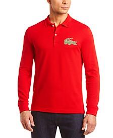 "Men's Interlock Croc ""Christmas"" Logo Heavy Pique Long Sleeve Polo Shirt"