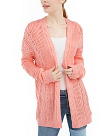 Juniors' Cable Knit Open-Front Cardigan
