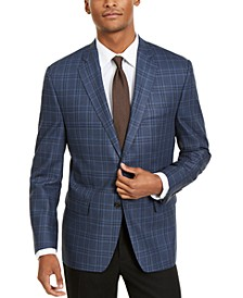 Men's Classic-Fit Ultraflex Stretch Navy Blue Windowpane Plaid Sport Coat