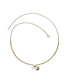 Bubbly Stainless Steel and PVD Champagne Gold White Imitation Pearl Choker Necklace