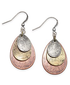Tri-Tone Textured Disc Drop Earrings, Created For Macy's