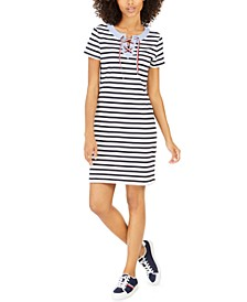 Striped Lace-Up T-Shirt Dress