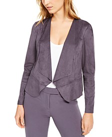 Faux-Suede Draped Peplum Jacket