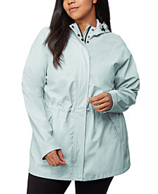 32 Degrees Plus Size Water-Resistant Hooded Raincoat