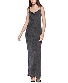 Metallic Cowlneck Gown