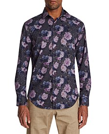 Men's Slim-Fit Performance Stretch Multi Floral Long Sleeve Shirt