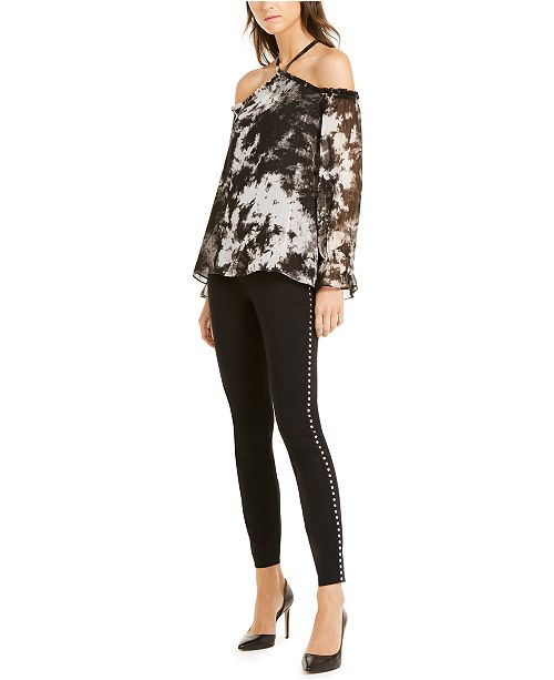 INC International Concepts® Woman INC Tie-Dyed Cold-Shoulder Top & Studded Pull-On Skinny Pants, Created For Macy's