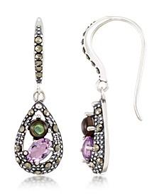 Marcasite, Amethyst ( 9/10 ct. t.w.) and Abalone (1-9/10 ct. t.w.)  Teardrop Wire  Earrings in Sterling Silver