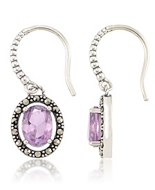 Marcasite and Amethyst (2-3/4 ct. t.w.) Oval Drop Wire Earrings in Sterling Silver