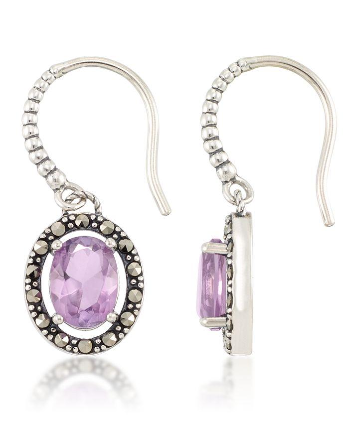 Macy's - Marcasite and Amethyst (2-3/4 ct. t.w.) Oval Drop Wire Earrings in Sterling Silver