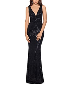 Sequinned Cascade-Back Gown