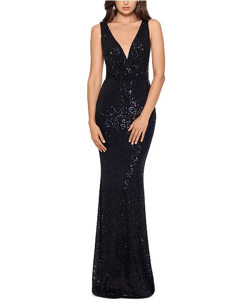XSCAPE Sequinned Cascade-Back Gown