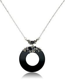 "Marcasite and Onyx Disc and Faceted Onyx 18"" Necklace in Sterling Silver"