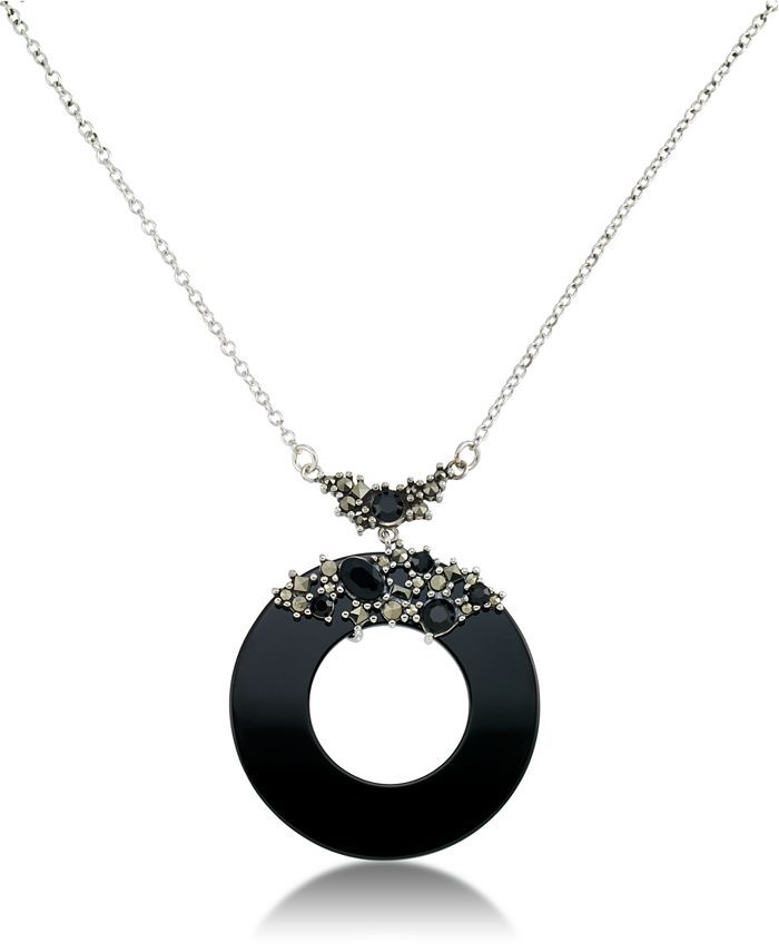 """Macy's - Marcasite and Onyx Disc and Faceted Onyx 18"""" Necklace in Sterling Silver"""