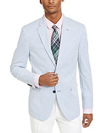 Men's Modern-Fit Stretch Blue/White Seersucker Stripe Sport Coat