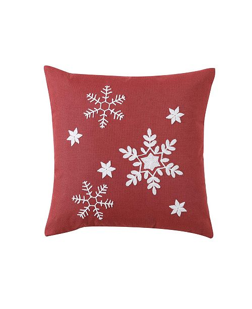 MHF Home Red Snowflake 18-inch Throw Pillow Cover