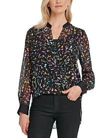 Crossover Printed Mesh Blouse