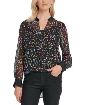 Dkny Tops CROSSOVER PRINTED MESH BLOUSE