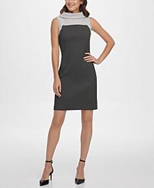 Mock Neck Dot Print Sleeveless Sheath Dress