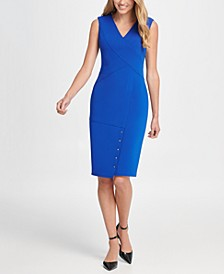 V-Neck Snap Skirt Compression Sheath Dress